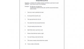 math worksheet : worksheets  speech therapy ideas  part 14 : Worksheets On Multiple Meaning Words