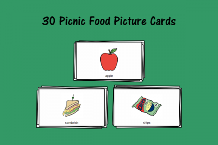 30 Picnic Food Picture Cards