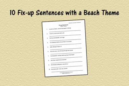 10 Fix-up Sentences with a Beach Theme