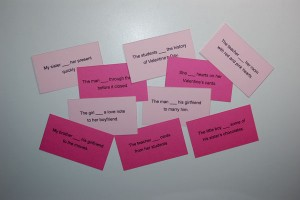 Valentine's Day Fill In Verb Card Game