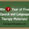 Win 1 Year of Free Speech and Language Therapy Materials!