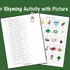 Winter Rhyming Activity with Picture Cards