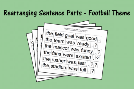 Rearranging Sentence Parts - Football Theme