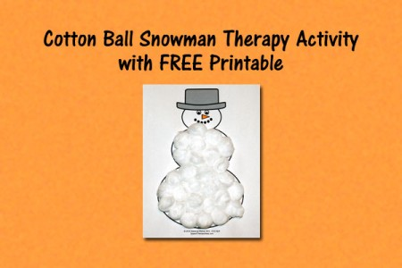 Cotton Ball Snowman Therapy Activity with FREE Printable