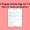 Home Program Activity Page for F Sound - Ideas for Parents and Caregivers