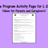 Home Program Activity Page for L Sound - Ideas for Parents and Caregivers