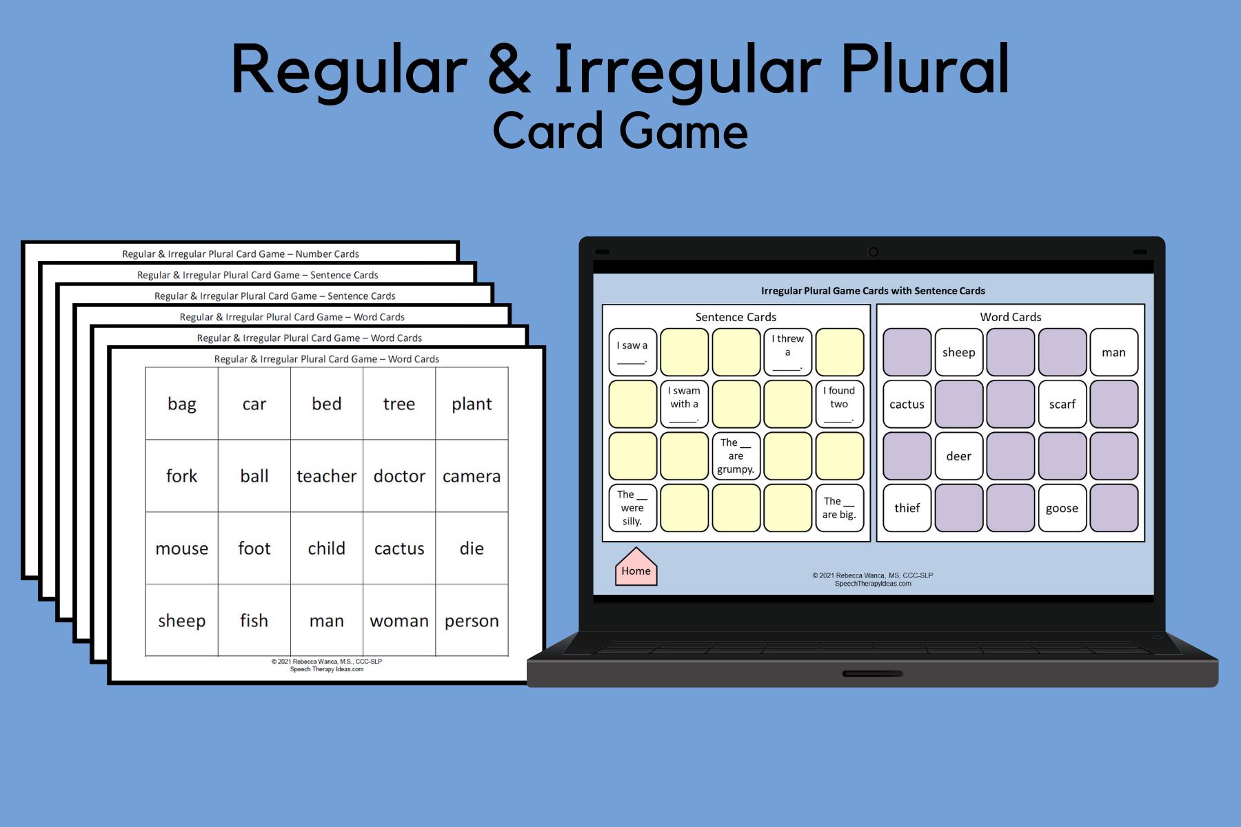Regular and Irregular Plural Card Game