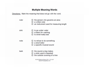 Exclusion for Multiple Meaning Words Worksheets | Speech Therapy Ideas