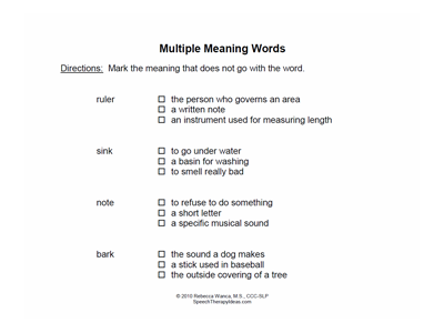 Exclusion For Multiple Meaning Words Worksheets