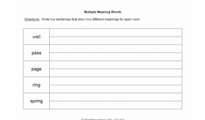 Fill-in Multiple Meaning Words Worksheet