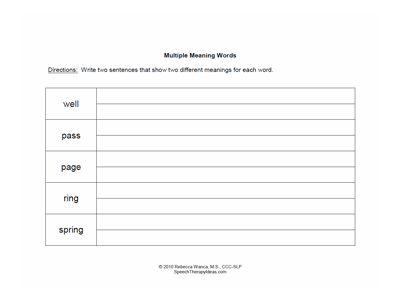 Fill-in Multiple Meaning Words Worksheets