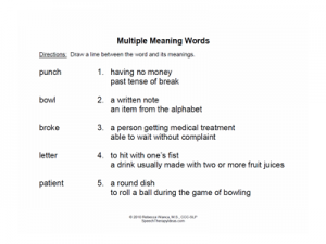 Matching Multiple Meaning Words Worksheets | Speech Therapy Ideas