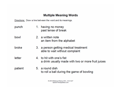Matching Multiple Meaning Words Worksheets