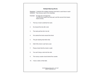 Discussion Multiple Meaning Words Worksheets