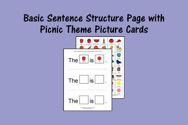 Basic Sentence Structure Page with Picnic Theme Picture Cards