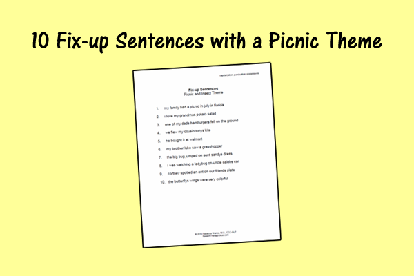 Fix-up Worksheet – Picnic Theme