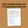 Insect Reading Sample and 10 Comprehension Questions