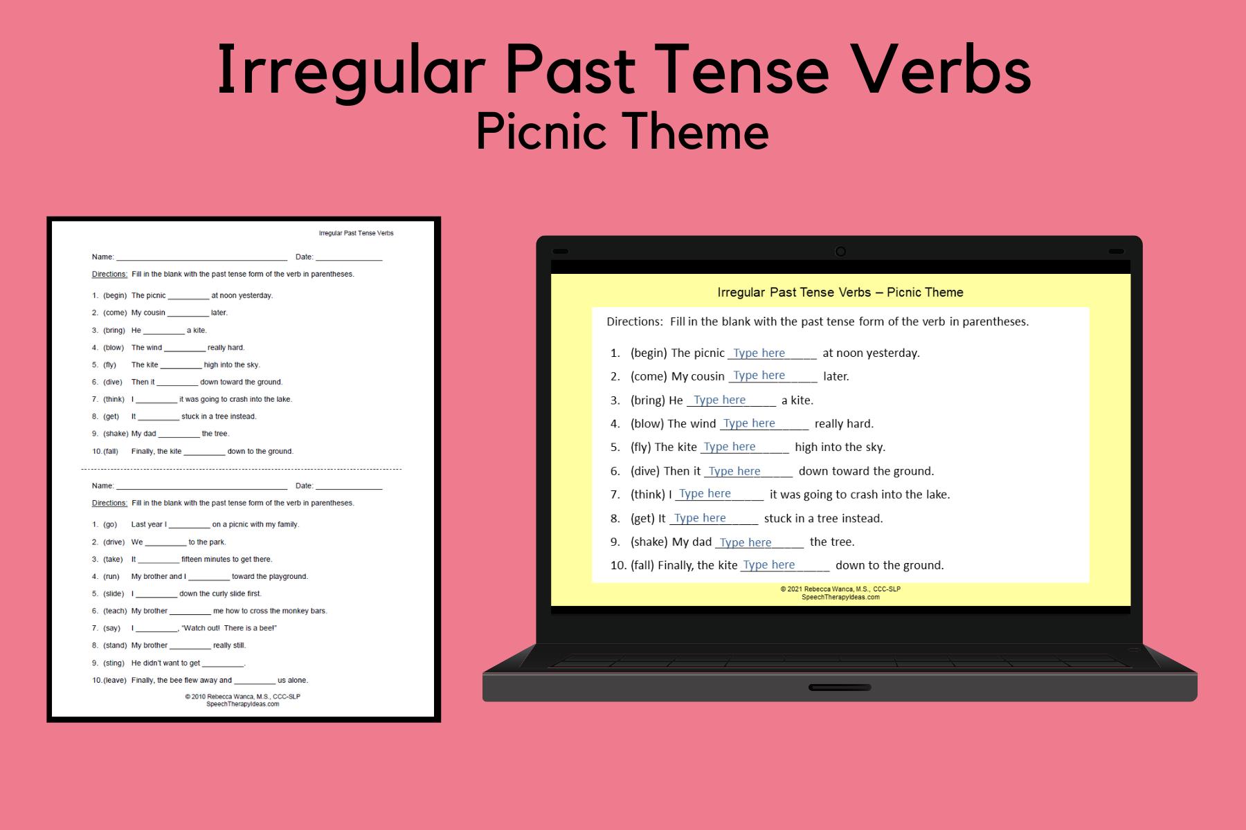 Irregular Past Tense Verbs – Picnic Theme