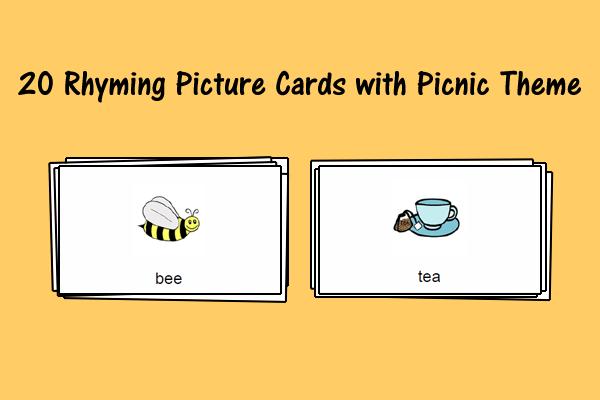 20 Rhyming Picture Cards With Picnic Theme