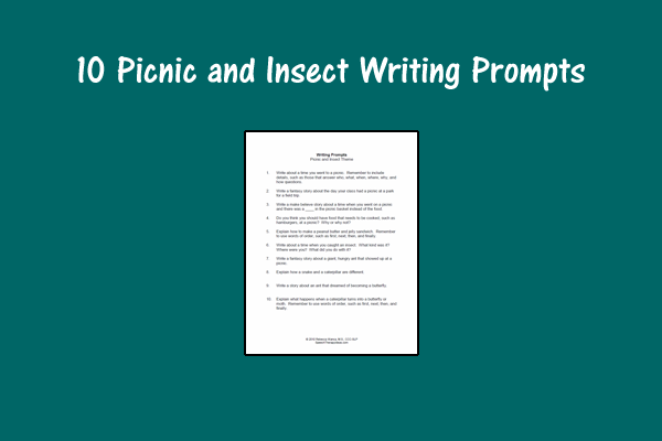 10 Picnic and Insect Writing Prompts