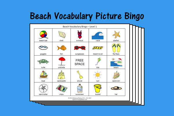 Beach Vocabulary Picture Bingo