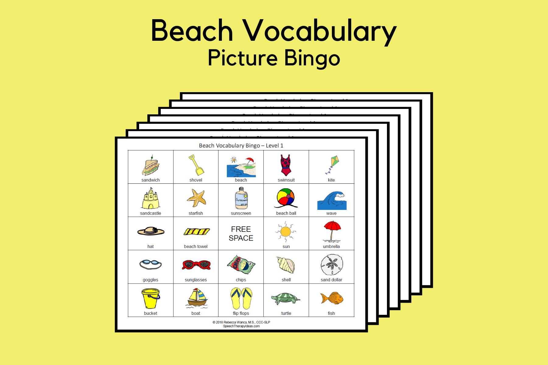 Beach Vocabulary Picture Bingo