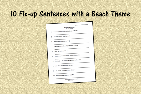 Fix-up Worksheet – Beach Theme