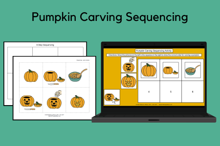 Pumpkin Carving Sequencing Print and Interactive