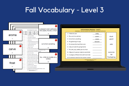 Fall Vocabulary Cards & Worksheets - Level 3