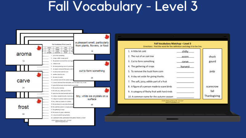 Fall Vocabulary Cards & Worksheets – Level 3