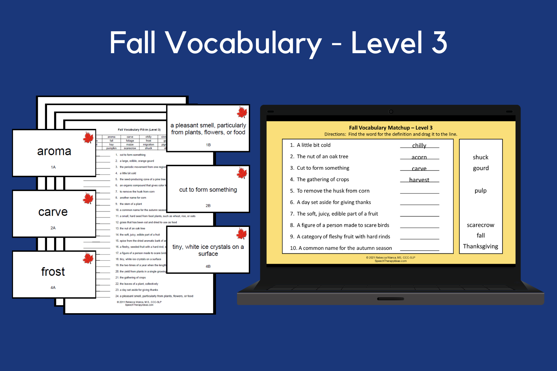 Fall Vocabulary Game Cards and Worksheets – Level 3