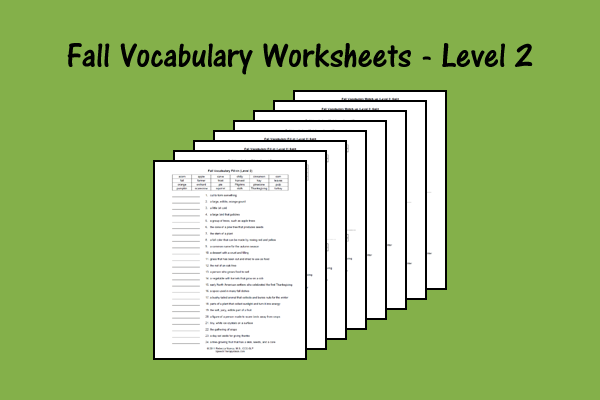Fall Vocabulary Worksheets – Level 2
