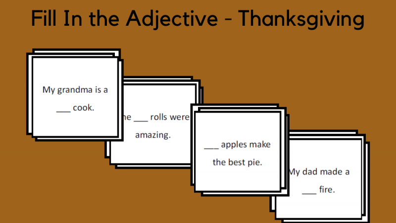 Fill In The Verb – Thanksgiving