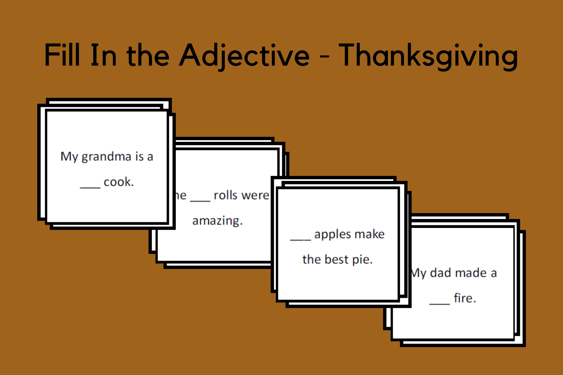 Fill In the Adjective Sentences – Thanksgiving