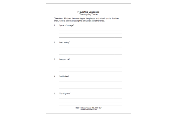 Figurative Language Worksheet – Thanksgiving Theme