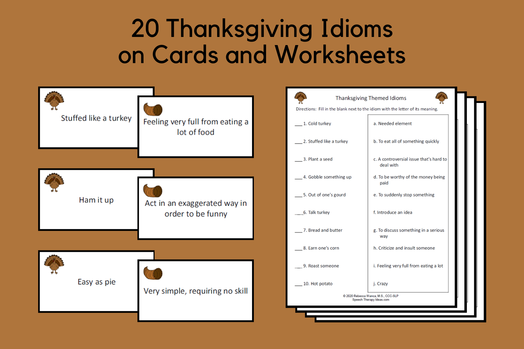 Thanksgiving Idiom Cards And Worksheets