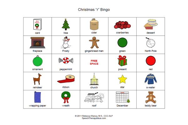 Christmas Bingo for R Sounds
