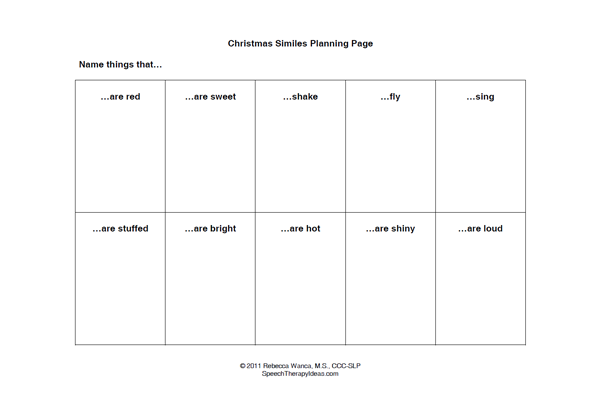 Christmas Simile Worksheets