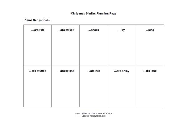 Christmas Simile Worksheets