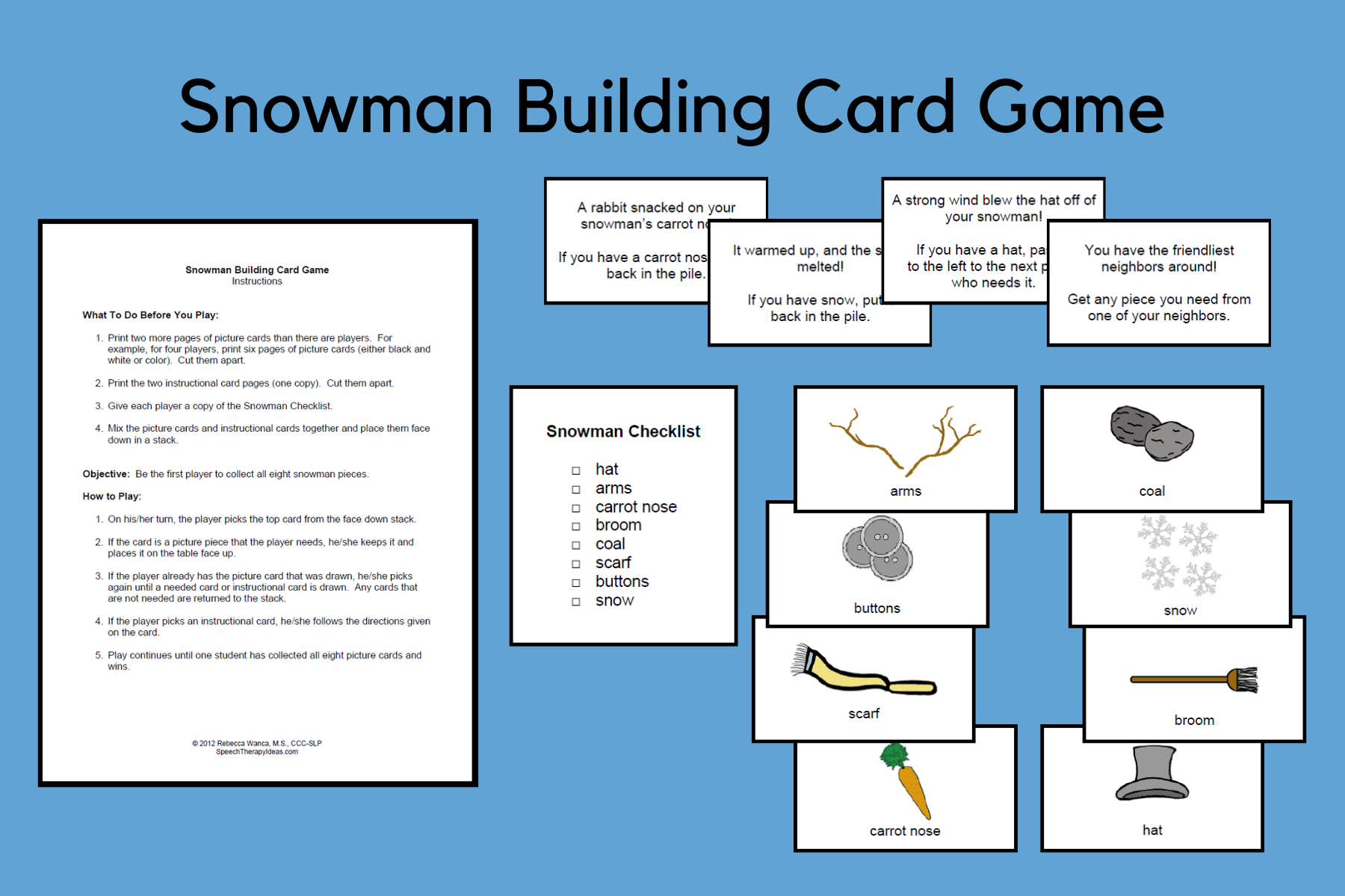 Snowman Building Card Game