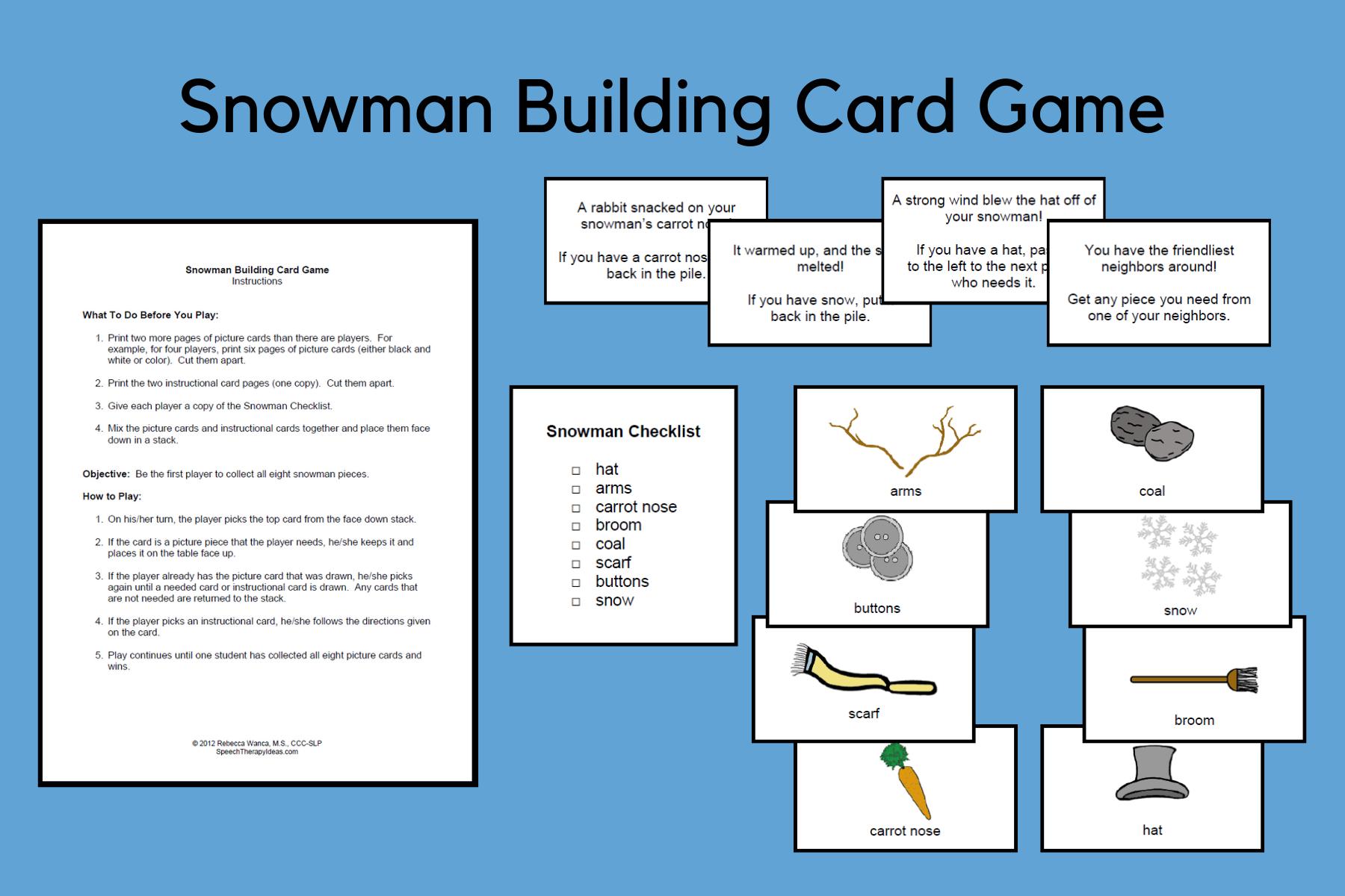 Snowman Building Card Game