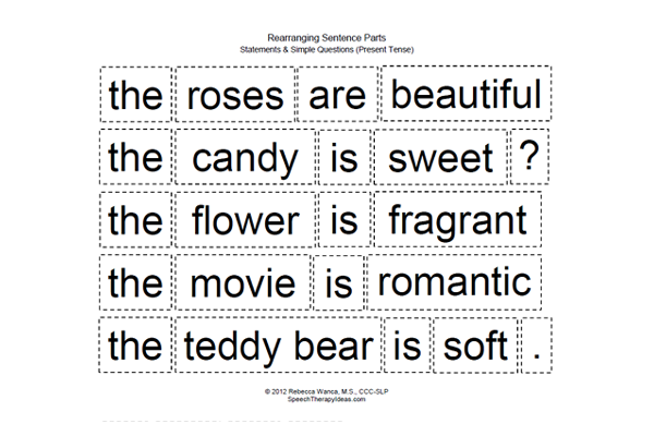 Rearranging Sentence Parts – Valentine's Day