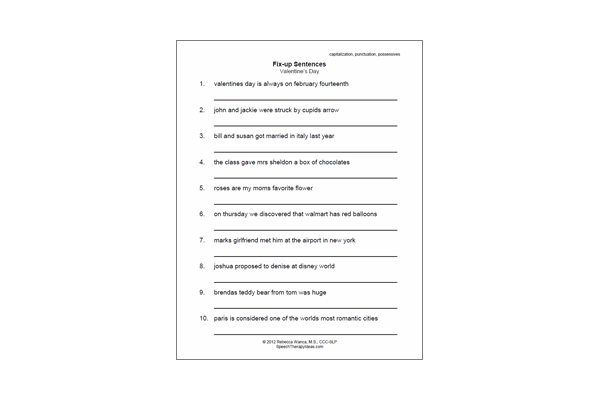 Language Therapy Worksheet – Valentines Fix Up Sentences