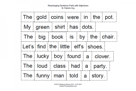 Rearranging Sentence Parts with Adjectives for St. Patrick's Day