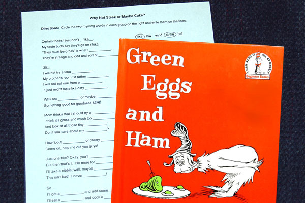 Rhyming Fill In Story Inspired By Green Eggs And Ham By Dr. Seuss