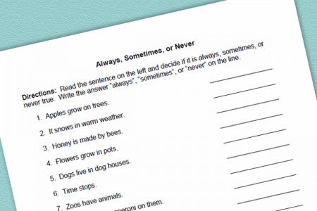 Language Worksheet and Activity for Always, Sometimes, Never