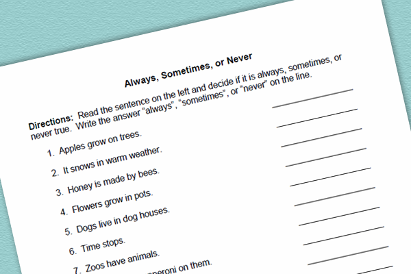 Language Worksheet and Group Activity for Always, Sometimes, and Never