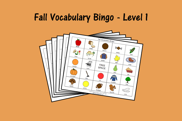 Fall Vocabulary Bingo Game – Level 1
