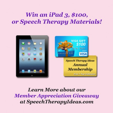 Win an iPad, $100 Visa Gift Card, or Speech Therapy Materials!