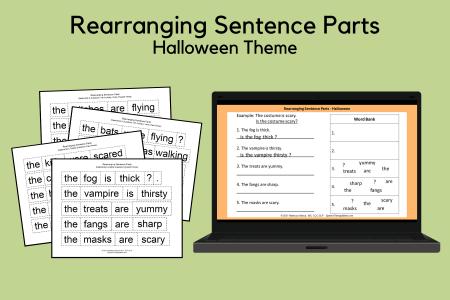 Rearranging Sentence Parts - Halloween Theme